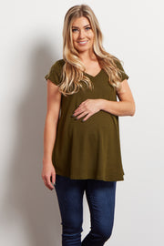 Olive Green Thermal Knit V-Neck Maternity Top
