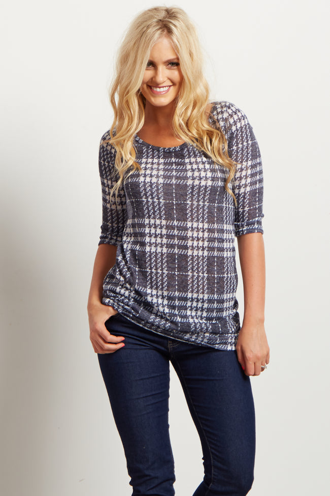 Blue Plaid 3/4 Sleeve Knit Top
