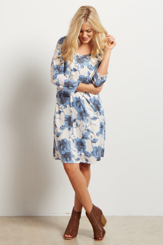 Ivory Blue Floral Print 3/4 Sleeve Maternity Dress