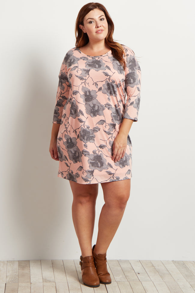 Coral Floral Print 3/4 Sleeve Plus Dress