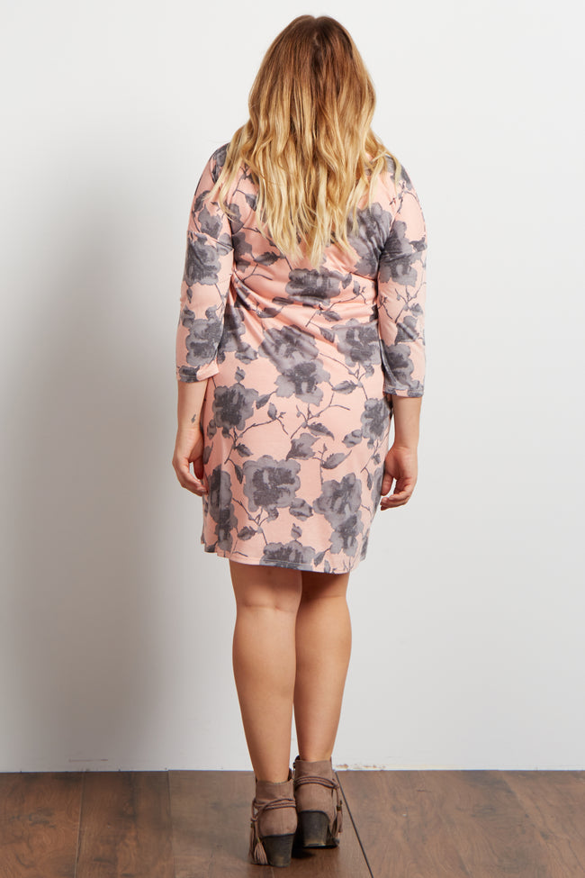 Light Coral Floral 3/4 Sleeve Maternity Plus Size Dress