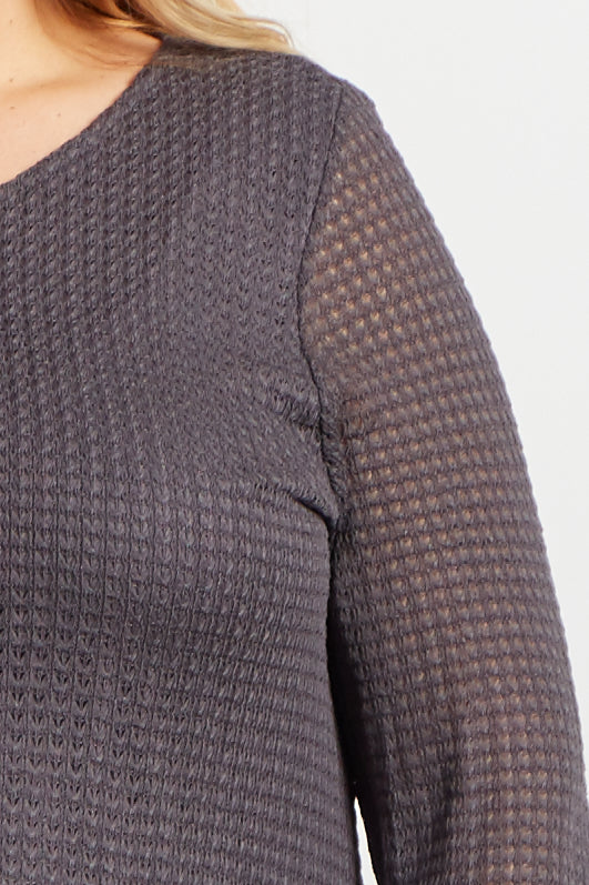 Charcoal Crochet Knit Long Sleeve Maternity Plus Top