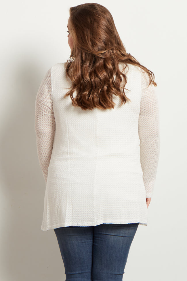 White Crochet Knit Long Sleeve Maternity Plus Top