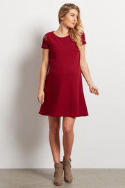 Red Solid Shoulder Cutout Maternity Dress