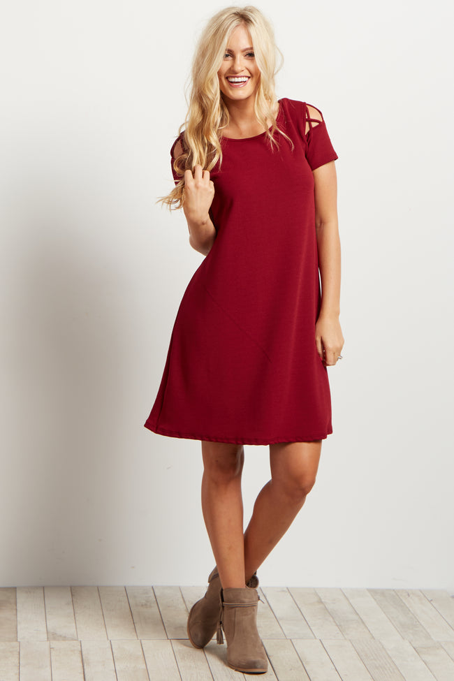 Red Solid Shoulder Cutout Dress
