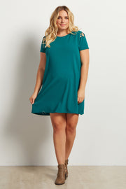 Green Solid Shoulder Cutout Maternity Plus Dress