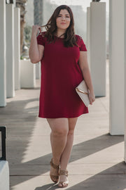 Burgundy Solid Shoulder Cutout Plus Dress