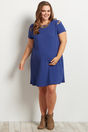 Blue Solid Shoulder Cutout Maternity Plus Dress