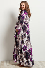 Purple Floral Print Long Sleeve Maternity Plus Maxi Dress