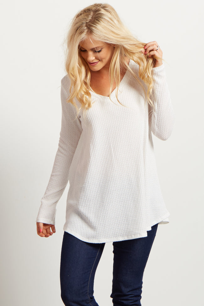 Ivory Solid V-Neck Knit Thermal Top
