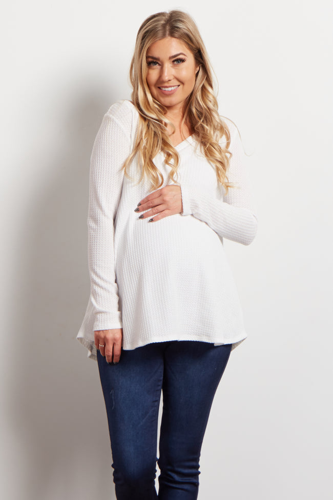 Ivory Solid V-Neck Thermal Knit Maternity Top