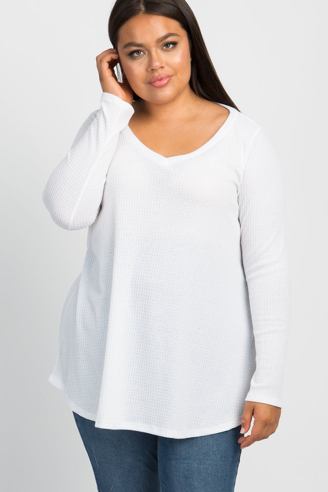 Ivory Long Sleeve Thermal Knit V-Neck Plus Top