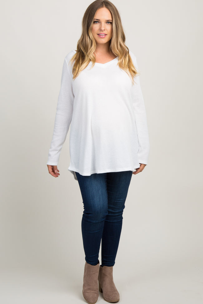 Ivory Long Sleeve Thermal Knit V-Neck Maternity Plus Top