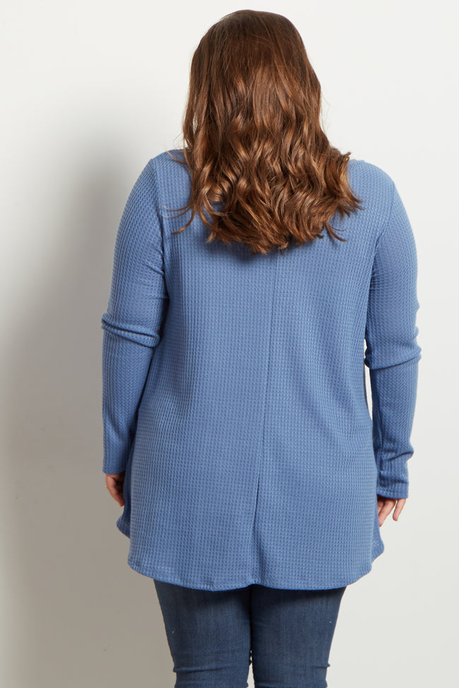 Blue Long Sleeve Thermal Knit V-Neck Maternity Plus Top