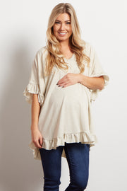 Beige Heathered Ruffle Accent Short Sleeve Maternity Top