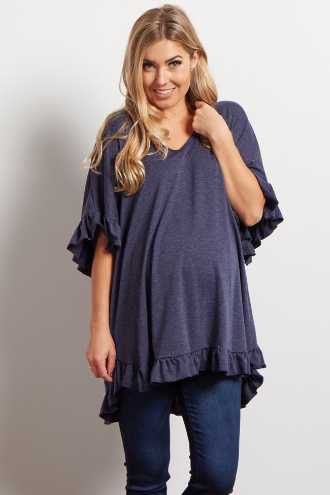Navy Blue Heathered Ruffle Accent Short Sleeve Maternity Top