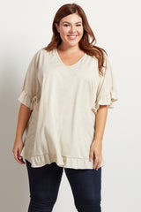 Beige Heathered Ruffle Accent Short Sleeve Plus Top