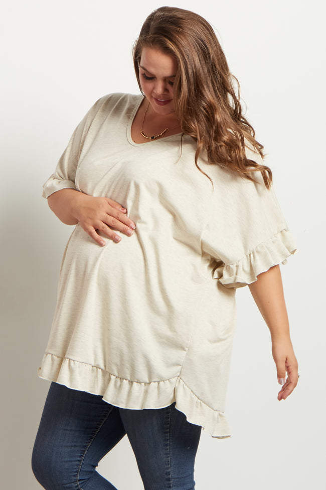 Beige Heathered Ruffle Accent Short Sleeve Maternity Plus Top