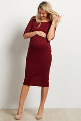 Burgundy Fitted Lace Maternity Dress