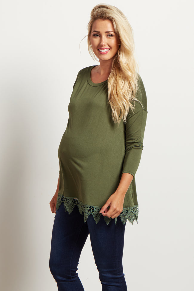 Olive Crochet Trim 3/4 Sleeve Top