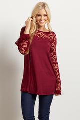 Burgundy Lace Accent Bell Sleeve Top