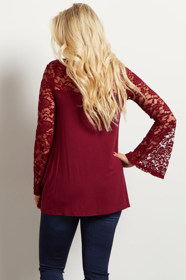 Burgundy Lace Accent Bell Sleeve Maternity Top