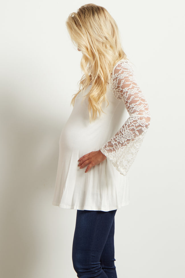 Ivory Lace Accent Bell Sleeve Maternity Top