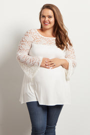 Ivory Lace Accent Bell Sleeve Maternity Plus Top