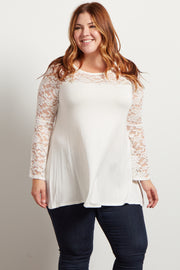 Ivory Lace Accent Bell Sleeve Plus Top