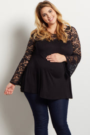Black Lace Accent Bell Sleeve Plus Maternity Top