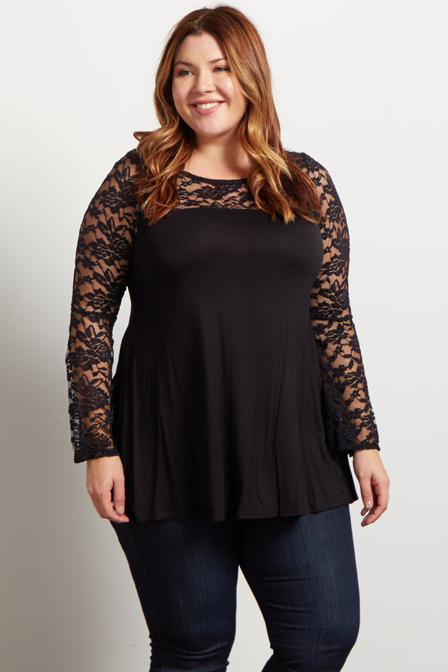 Black Lace Accent Bell Sleeve Plus Top