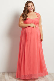 Coral Lace Accent Chiffon Maternity Plus Evening Gown