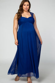 Blue Lace Accent Chiffon Maternity Plus Evening Gown