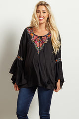 Black Floral Embroidered Bell Sleeve Maternity Top