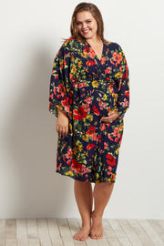 Navy Red Floral Delivery/Nursing Maternity Robe