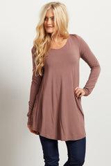 Brown Long Sleeve Bamboo Top