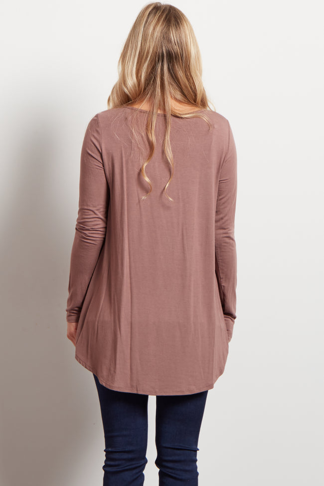 Brown Long Sleeve Bamboo Maternity Top