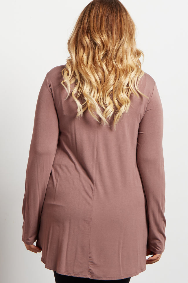 Brown Long Sleeve Bamboo Maternity Plus Size Top