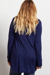 Navy Blue Long Sleeve Bamboo Maternity Plus Size Top