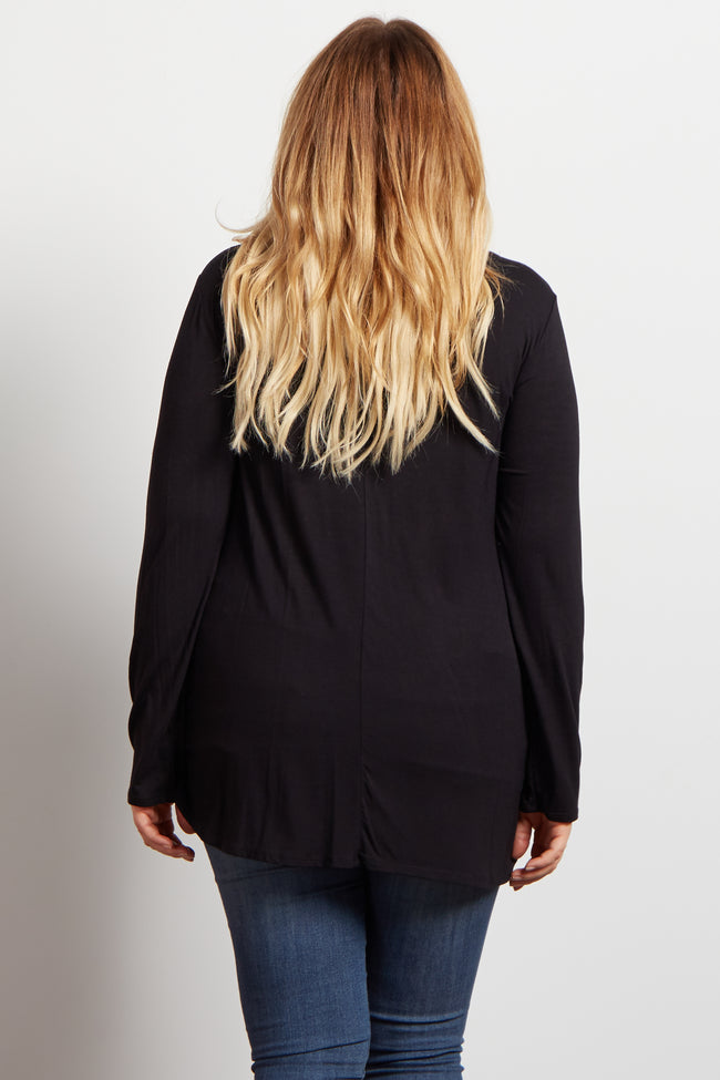 Black Long Sleeve Bamboo Maternity Plus Top