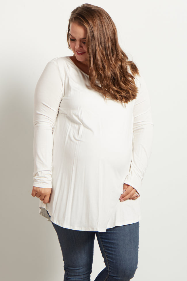Ivory Long Sleeve Bamboo Maternity Plus Top