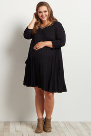 Black Pocketed 3/4 Sleeve Flowy Maternity Plus Dress