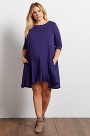 Navy Blue Pocketed 3/4 Sleeve Flowy Maternity Plus Dress