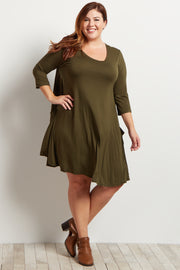 Olive Green Pocketed 3/4 Sleeve Flowy Plus Dress