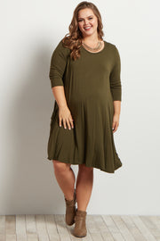 Olive Green Pocketed 3/4 Sleeve Flowy Maternity Plus Dress