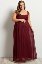 Burgundy Lace Accent Chiffon Maternity Plus Evening Gown