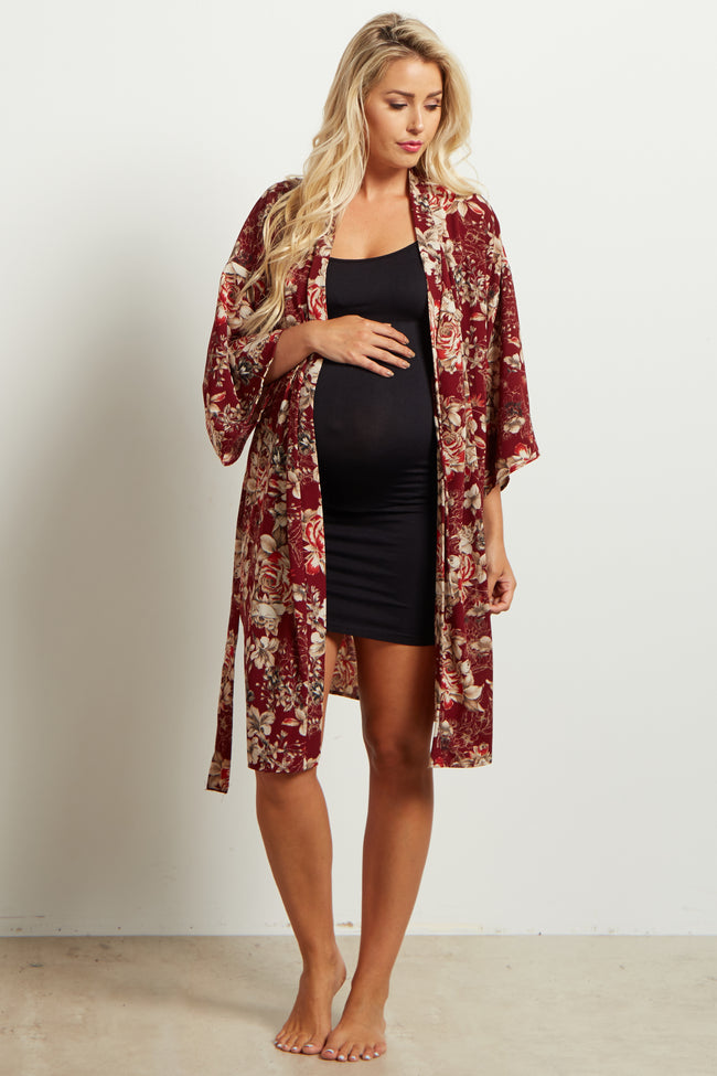 Burgundy Floral Delivery/Nursing Maternity Robe