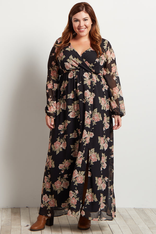 Black Floral Chiffon Wrap Plus Maxi Dress