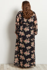 Black Floral Chiffon Wrap Maternity Plus Maxi Dress