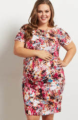 Fuchsia Abstract Fitted Maternity Plus Dress